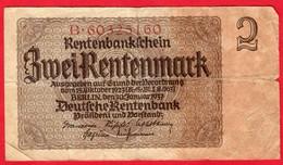 -- BILLET DE 2 RENTENMARK - B.60325160 - - [ 3] 1918-1933 : République De Weimar