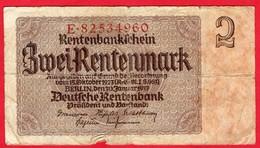 -- BILLET DE 2 RENTENMARK - E. 82534960 - - [ 3] 1918-1933 : République De Weimar