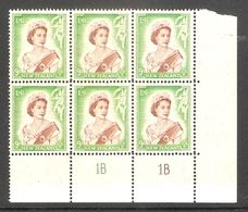001656 New Zealand 1954 9d Plate Block 1B 1B MNH - Blocks & Sheetlets