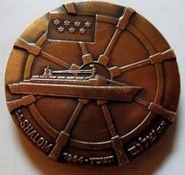 """Médaille  """"S.S. Shalom"""" - Marine Navire Amiral Israelien /  Compagnie Maritime Nationale ZIM - Emblème 7 étoiles - Professionnels / De Société"""