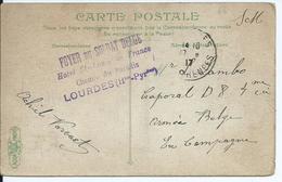 Prentkaart Van Lourdes Naar D 8 - Stempel FOYER DU SOLDAT BELGE / LOURDES - Oorlog 14-18