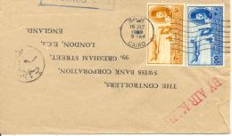 Lettre De Le Caire Vers London 1949. Au Dos Flamme. Cover - Poste Aérienne