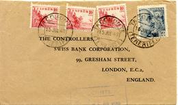 Tacoronte (Tenerife) A Londres 1948. Sellos Franco, Cid...Lettre, Cover Canarias - 1931-50 Storia Postale