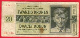 -- PROTECTORAT BÔHEME MOLDAVIE - BILLET De 20 KORUN -- - [ 4] 1933-1945 : Troisième Reich