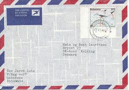 Botswana Air Mail Cover Sent To Denmark 25-11-1986 Single Franked BIRD - Botswana (1966-...)