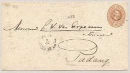 Nederlands Indië - 1889 - Kleinrond En Puntstempel FORT De KOCK Met L PAJAKOMBO Op Envelop G6 Naar Padang - Nederlands-Indië