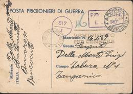 World War II Posta Prigionieri Di Guerra CAD Amorosi 4 6 43 Pour Camp Tabora Tanganyika Censures Prisonner Of War - Military Mail (PM)