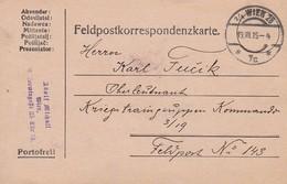 Feldpostkarte - Wien An Kriegstraingruppen Kommando - 1915 (34578) - 1850-1918 Imperium