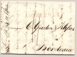 Nederland - 1816 - Langstempel AMSTERDAM Op Complete Vouwbrief Naar Bordeaux / France - ...-1852 Voorlopers