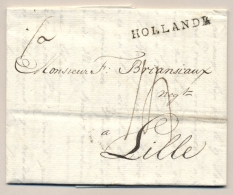Nederland - 1805 - HOLLANDE Stempel Op Complete Vouwbrief Van Amsterdam Naar Lille - Nederland