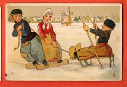 HCB-30  Raphael Tuck, Scène Hollandaise, Enfants Jouant Dans La Neige. , Plia Angle. Circulé - Tuck, Raphael