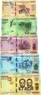 Burundi (BRB) 500 1000 2000 5000 10000 Francs 2015 Issue UNC Full Set Cat No. P.51-54a / BI236a-240a - Burundi