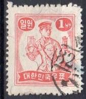 1949 1 Won Mr. Postman Red VF Used (161) - Corea Del Sud