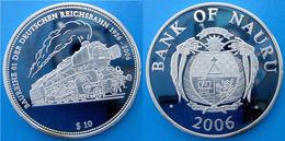 NAURU 10 $ 2006 ARGENTO PROOF SILVER BAUREIHE LOCOMOTIVE TRAIN TRENO RARE PESO 28,28g TITOLO 0,925 CONSERVAZIONE FONDO S - Nauru