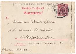 BOLLWEILER- LAUTENBACH. ALSACE-LORRAINE. KARTENBRIEF. AMBULANT. 1897. POUR BISCHWILLER. - Elsass-Lothringen