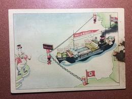 Ultra Rare! Vintage Postcard 1940s Kariktura Nazi Germany Blockade Import England From East. Flag  Swastika - Guerra 1939-45