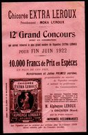 Orchies (59 Nord) Prospectus Concours CHICOREE LEROUX 1922 (PPP8620) - Advertising