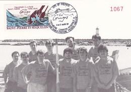 Saint-Pierre & Miquelon - Carte Maximum Gringos Traversée Rame St-Pierre Terre-Neuve - CAD 2-3 Août 1991 - Timbre YT 546 - Maximum Cards