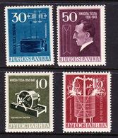 Yugoslavia SG 821-824 1956 Birth Centenary Of Nikola Tesla,mint Hinged - Gebraucht