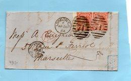 Entrée Angleterre-AMB CALAIS PD Londres Pour Marseille,paire N°21.26/4/64. - Marcophilie (Lettres)