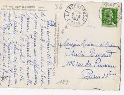 Marianne Muller 12f Vert Jaune Seul Sur Carte 1955 N° YT 1010, Cachet A4 LA ROCHE-POSAY VIENNE, Carte AZAY LE FERRON Ind - Marcophilie (Lettres)