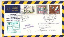 Berlin - Lettre De 1966 - Oblit Berlin - 1er Vol Frankfurt New York Montego Guayaquil - Espace - Signalisation - Berlin (West)