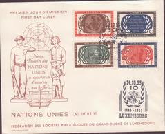 ENVELOPPE  TIMBRE  N° 1955 NOUS PEUPLES DES NATIONS UNIES AVONS DECIDE D'ASSOCOER NOS EFFORTS  (GDluxembourg  VOIR PHOTO - FDC