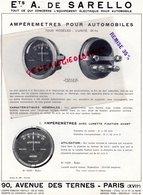 75- PARIS- RARE PUBLICITE ETS. A. DE SARELLO- 90 AVENEUE TERNES - AMPEREMETRE AUTO MOTO- CITROEN FORD- AUTOMOBILE - Pubblicitari