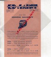 75- PARIS- RARE PUBLICITE ED. SAINT- FOURNITURES AUTO MOTO- AUTOMOBILE- 17 RUE GUYOT- AOUT 1931- VOYANT STOP ECLAIRAGE - Pubblicitari