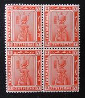 PROTECTORAT BRITANNIQUE - CLEOPATRE AVEC COIFFE D'ISIS 1922 - BLOC DE QUATRE NEUVF ** - YT 57 - Égypte