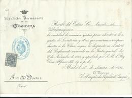 ESPAÑA 1898 RECIBO DE LA GRANDEZA DE ESPAÑA DEL CONDE DE VILLAFRANQUEZA - España