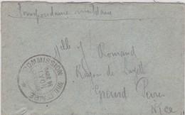 LSC En Franchise - Cachet:  COMMISSION MILITAIRE / GARE DE LYON BROTTEAUX - WW I