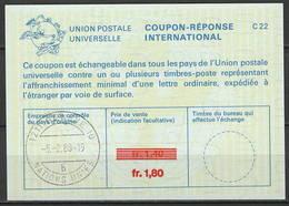 UNO GENF La25J  Fr. 1,80 / 1,40 Intern. Reply Coupon Reponse Antwortschein IRC IAS O GENEVE NATIONS UNIES 10 B 5.2.88 - Briefe U. Dokumente