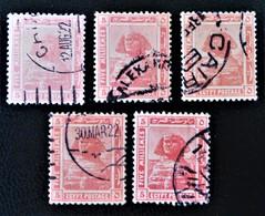 PROTECTORAT BRITANNIQUE - SPHINX DE GIZEH 1922 - OBLITERES - YT 61 - VARIETES DE TEINTES ET D'OBLITERATIONS - Égypte