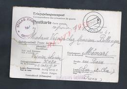 MILITARIA CARTE CORRESPONDANCE EN FRANCHISE MILITAIRE ALLEMAGNE STALAG POUR FAMILLE ( LUCIEN ) VESNIER MÉNARS : - Guerre De 1939-45