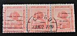 PROTECTORAT BRITANNIQUE - SPHINX DE GIZEH 1922 - MAGNIFIQUE OBLITERATION SUR BANDE HORIZONTALE OBLITEREE - YT 61 - Égypte