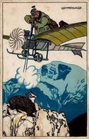 Jung, Moritz Flugzeug Vor 1945 Gemsenjagd Humor Künstlerkarte II (fleckig) Aviation - Künstlerkarten