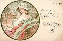 Mucha, Alfons Frau Jugendstil Künstler-Karte 1900 I-II (fleckig) Art Nouveau - Mucha, Alphonse