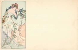 Mucha, Alfons Frau Jugendstil Künstler-Karte I-II (Albenabdruck) Art Nouveau - Mucha, Alphonse