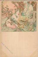 Mucha, Alfons Frau Künstler-Karte I-II - Mucha, Alphonse