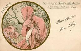 Mucha, Alfons Janvier Frau Künstler-Karte Mit Zudruck Belle Jardiniere 1902 I-II (fleckig) - Mucha, Alphonse