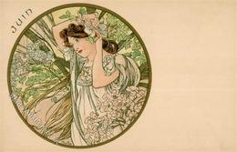 Mucha, Alfons Juin Frau Künstler-Karte I-II - Mucha, Alphonse