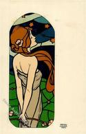 Kirchner, Raphael Frau Jugendstil Präge-Karte I- Art Nouveau - Kirchner, Raphael