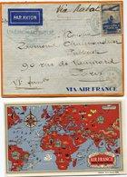 FRANCE LETTRE PAR AVION AVEC CARTE AIR FRANCE DEPART SALON DE L'AERONAUTIQUE 25-11-36 PARIS VIA RABAT POUR LA FRANCE - 1927-1959 Briefe & Dokumente