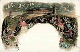 Hexe Brocken Zwerge Teufel Eule Brocken Künstlerkarte 1898 I-II Lutin - Books
