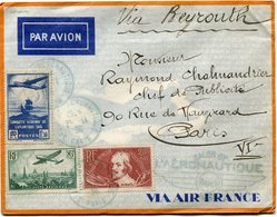 FRANCE LETTRE PAR AVION AVEC CARTE AIR FRANCE DEPART SALON DE L'AERONAUTIQUE 25-11-36 PARIS VIA BEYROUTH POUR LA FRANCE - Poste Aérienne