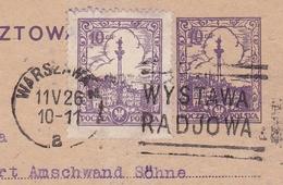Carte Varsovie Warszawa Warschau 1926 Pologne Poland Polska Zurich Suisse Schweiz Bromberg Robert Amschwand Söhne - 1919-1939 Republik