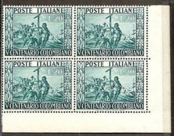 1951 Italia Italy Repubblica CRISTOFORO COLOMBO 4 Serie In Quartina MNH** Bl.4 - Christopher Columbus