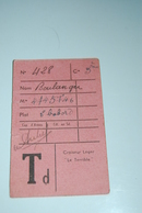 """Carte De Service Mess Du Marin Boulanger Sur Le Navire Croiseur Léger """"LE TERRIBLE"""" - Alte Papiere"""