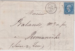 LAC - N°22 OBL. GC De ALLEVARD  19 FEVR. 65 - 1849-1876: Période Classique